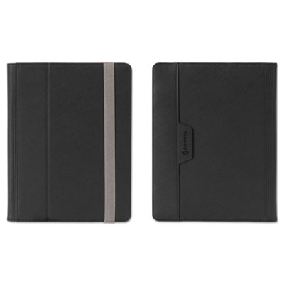 Passport folio case for e-readers, s/m, nylon/microsuede, black/silver, sold as 1 each