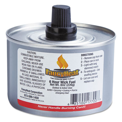 Chafing fuel can, stem wick, 4-6hr burn, 8oz, 24/carton, sold as 1 carton, 24 each per carton