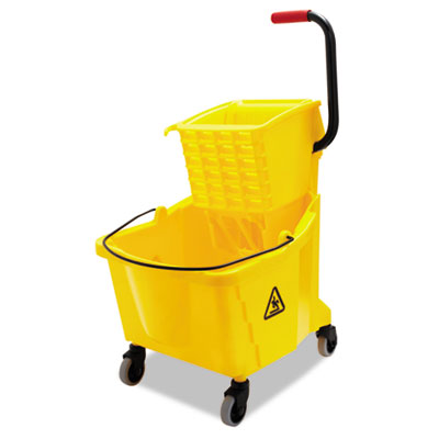 Pro-Pac Side-Squeeze Wringer/Bucket Combo, 8.75gal, Yellow | by Plexsupply