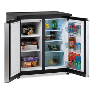 5.5 cf side by side refrigerator/freezer, black/stainless steel, sold as 1 each