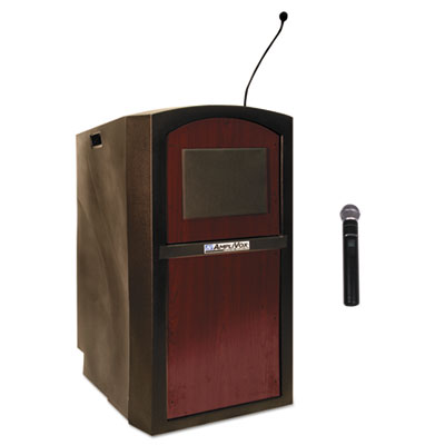 Pinnacle multimedia lectern, 26w x 25d x 46h, mahogany, sold as 1 each