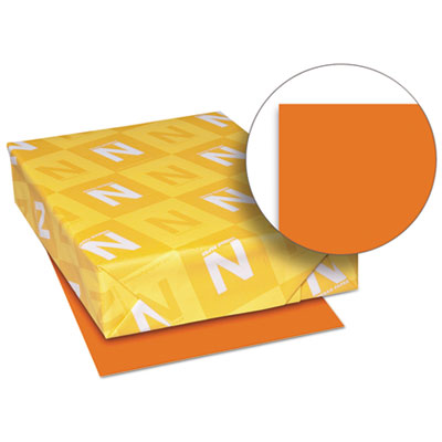 Exact brights paper, 8 1/2 x 11, bright tangerine, 50 lb, 500 sheets/ream, sold as 1 ream