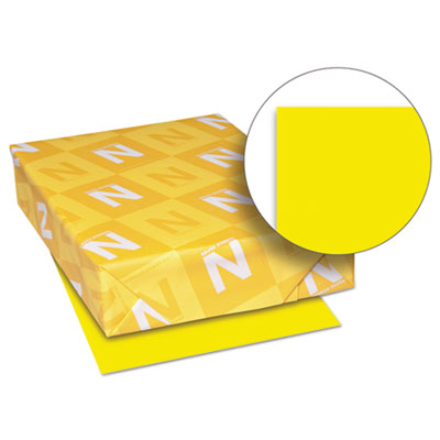 Exact brights paper, 8 1/2 x 11, bright yellow, 50 lb, 500 sheets/ream, sold as 1 ream