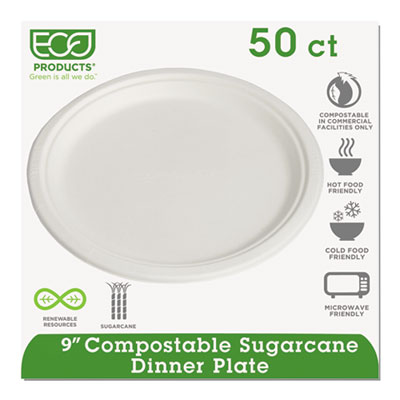 "Renewable/compostable sugarcane plates convenience pack, 9"", 50/pk, 10 pk/ct, sold as 1 carton, 10 package per carton"
