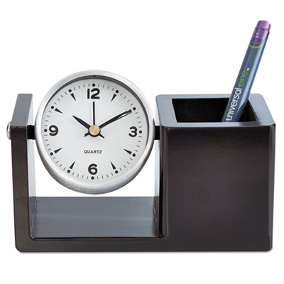 Executive desk clock, brushed nickel/dark cappuccino, sold as 1 each