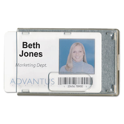 Rigid two-badge blocking smart card holder, 3 3/8 x 2 1/8, clear, 20 per pack, sold as 1 package