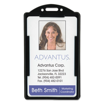 Vertical id card holders, 2 1/8 x 3 3/8, black, 25 per pack, sold as 1 package
