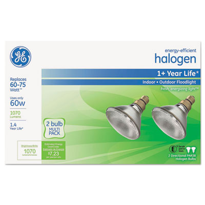 Energy-efficient halogen 60 watt par38 floodlight, 2/pack, sold as 1 package