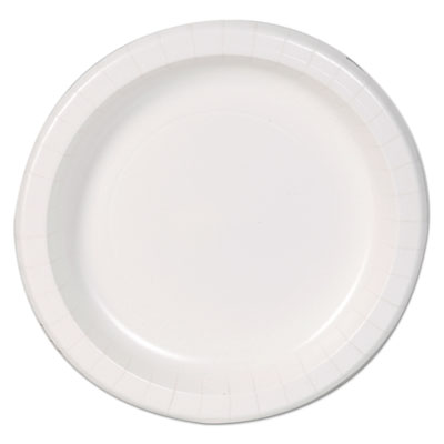 "Basic paper dinnerware, plates, white, 8.5"" diameter, 125/pack, sold as 1 package"