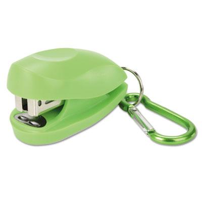 Tot mini stapler carabiner plus pack, 12-sheet capacity, green/blue, 2/pack, sold as 1 package