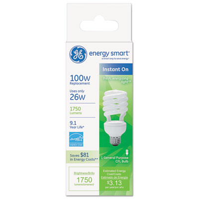Energy smart compact fluorescent spiral light bulb, 26w, soft white, 10 bulbs/ct, sold as 1 package
