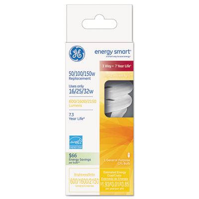 Energy smart compact fluorescent spiral light bulb, 16/25/32 w, soft white, sold as 1 each