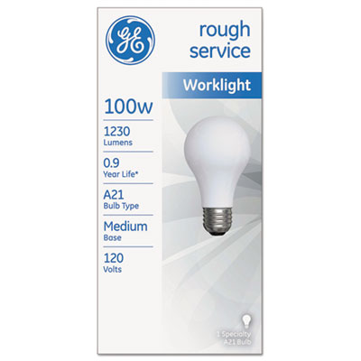 Rough service incandescent worklight bulb, a21, 100 w, 1230 lm, sold as 1 each
