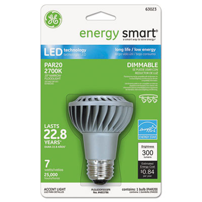 Energy smart dimmable led bulb, par20, 7 watts, sold as 1 each