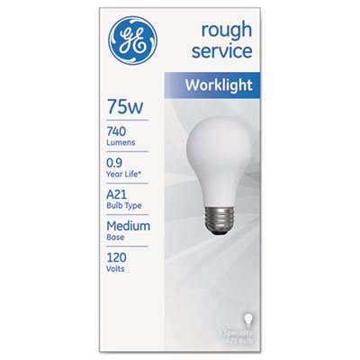 Rough service incandescent worklight bulb, a21, 75 w, 1230 lm, sold as 1 each