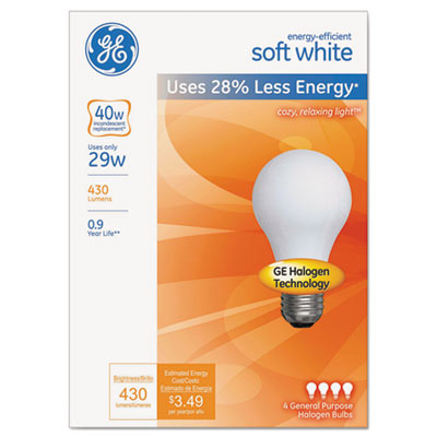 Energy-efficient halogen bulb, a19, 29 w, soft white, 4/pack, sold as 1 package