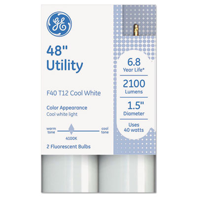 "T12 fluorescent utility bulb, 40 watts, 48"" x 1.6"", cool white, sold as 1 carton, 9 package per carton"