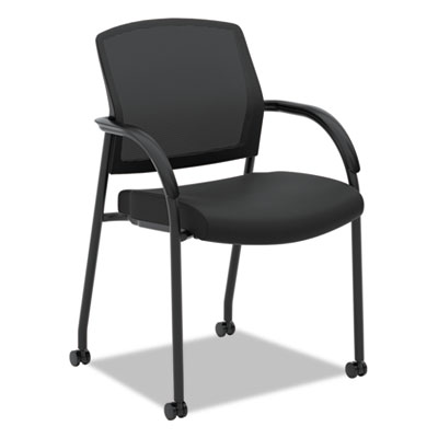Lota series mesh guest side chair, black fabric, black base, sold as 1 each