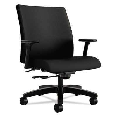 Ignition series big & tall mid-back work chair, black fabric upholstery, sold as 1 each