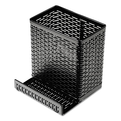 Urban collection punched metal pencil cup/cell phone stand, 3 1/2 x 3 1/2, black, sold as 1 each