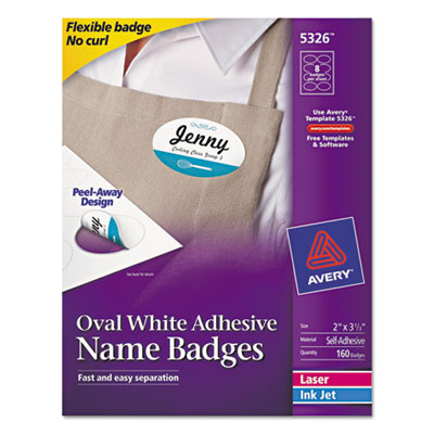 Flexible oval self-adhesive laser/inkjet name badge label, 3 1/4 x 2, we, 160/pk, sold as 1 package