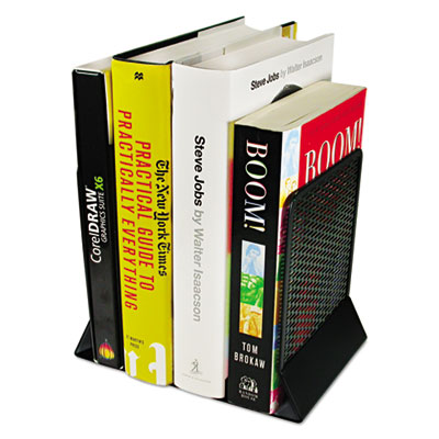 Urban collection punched metal bookends, 6 1/2 x 6 1/2 x 5 1/2, black, sold as 1 each