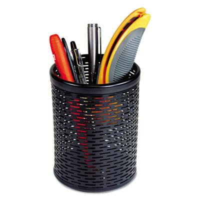 Urban collection punched metal pencil cup, 3 1/2 x 4 1/2, black, sold as 1 each
