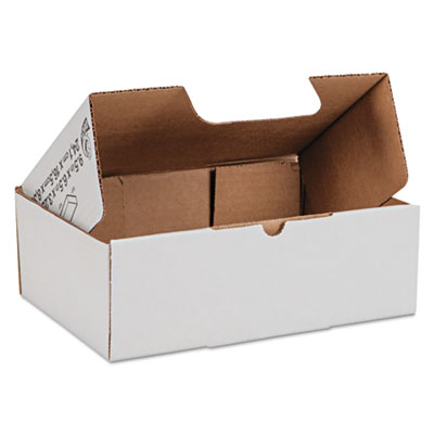 Self-locking shipping boxes, 9 1/2l x 6 1/2w x 3 1/4h, white, 25/pack, sold as 1 package