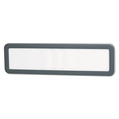 Recycled cubicle nameplate with rounded corners, 9 1/8 x 2 1/4, charcoal, sold as 1 each