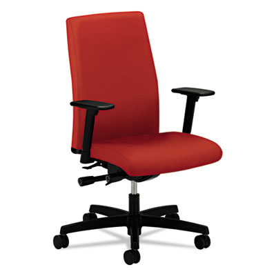 Ignition series mid-back work chair, poppy fabric upholstery, sold as 1 each