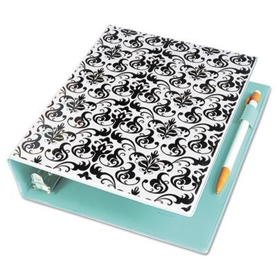 "Durable mini fashion binder, 8 1/2 x 5 1/2, 1"" capacity, damask/light blue, sold as 1 each"