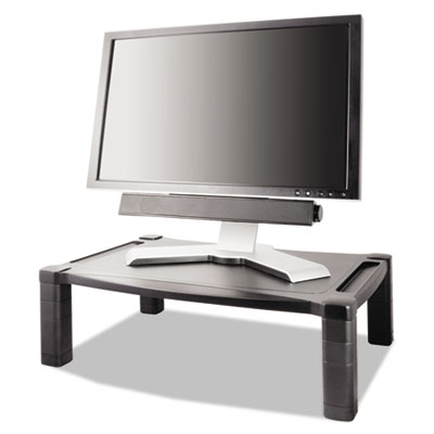 Wide two-level stand, height-adjustable, 20 x 13 1/4, black, sold as 1 each