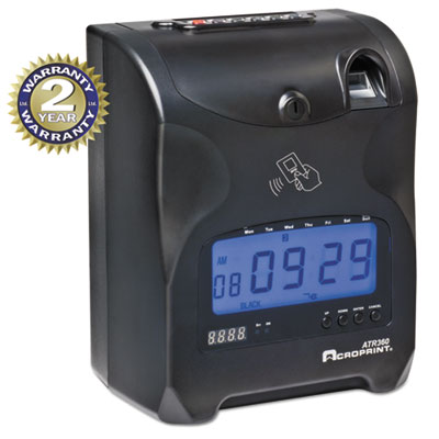 Biometric fingerprint time clock, black/red ink, 6 x 5 x 9, sold as 1 each