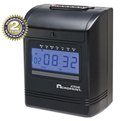Atr240 top loading time clock, black/red ink, 8 x 6 x 10, black, sold as 1 each