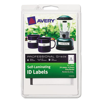 Durable self laminating id labels, 4 x 6 sheet, 2/3 x 3 3/8, white/gray, 24/pack, sold as 1 package