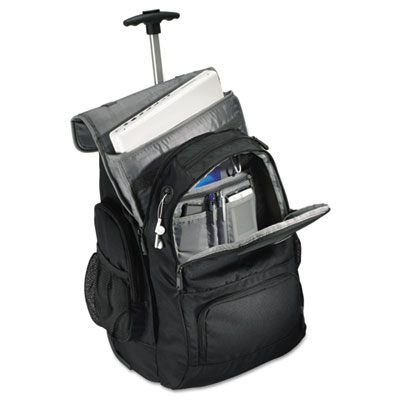 Rolling backpack, 14 x 8 x 21, black/charcoal, sold as 1 each