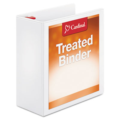 "Treated binder clearvue locking slant-d ring binder, 4"" cap, 11 x 8 1/2, white, sold as 1 each"