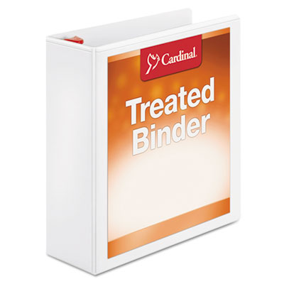 "Treated binder clearvue locking slant-d ring binder, 3"" cap, 11 x 8 1/2, white, sold as 1 each"