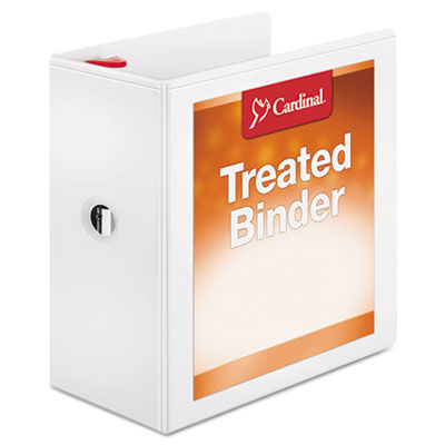 "Treated binder clearvue locking slant-d ring binder, 5"" cap, 11 x 8 1/2, white, sold as 1 each"