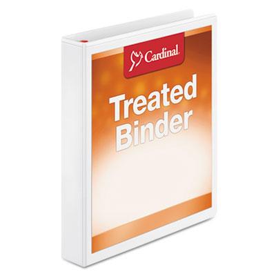 "Treated binder clearvue locking slant-d ring binder, 1"" cap, 11 x 8 1/2, white, sold as 1 each"