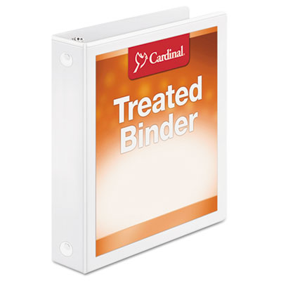 "Treated binder clearvue locking round ring binder, 1 1/2"" cap, 11 x 8 1/2, white, sold as 1 each"