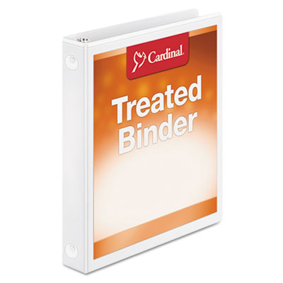 "Treated binder clearvue locking round ring binder, 1"" cap, 11 x 8 1/2, white, sold as 1 each"