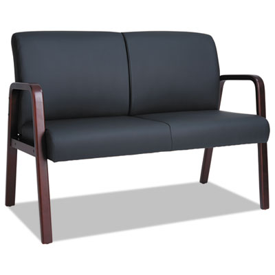Reception lounge series wood loveseat, 44 7/8 x 26 x 33 1/4, black/mahogany, sold as 1 each