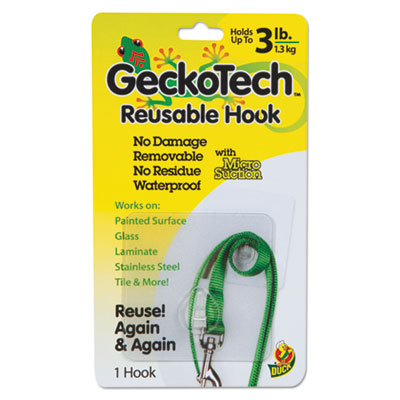 Geckotech reusable hooks, plastic, 3 lb capacity, clear, 1 hook, sold as 1 each