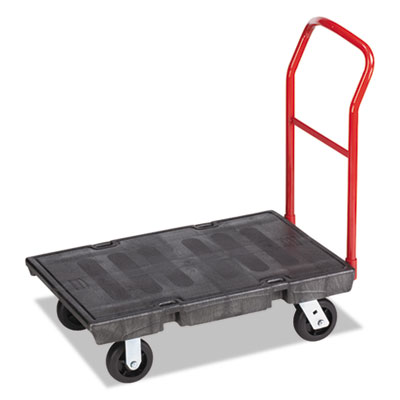 "Heavy-duty platform truck cart, 500 lb capacity, 24"" x 36"" platform, black, sold as 1 each"