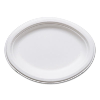 "Renewable & compostable sugarcane plates, oval - 10"" x 7"", 50/pk, 10 pk/ct, sold as 1 carton, 500 each per carton"