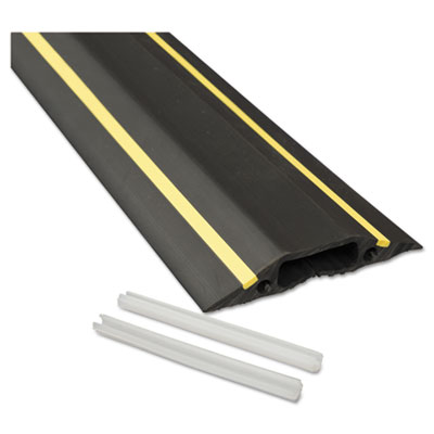 Medium-duty floor cable cover, 3 1/4 x 1/2 x 6 ft, black with yellow stripe, sold as 1 each