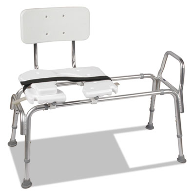 """Heavy-duty sliding transfer bench with cut-out seat, 19-23""""h, 15 x 19 seat, sold as 1 each"""