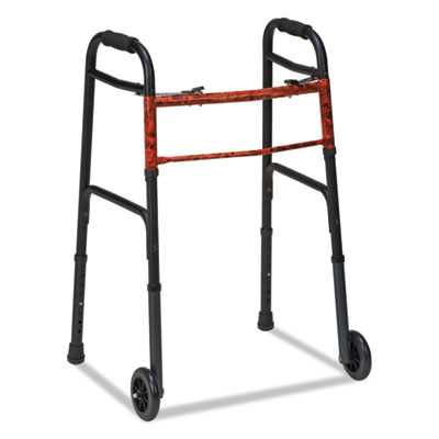 """Two-button release folding walker with wheels, black/copper, aluminum, 32-38""""h, sold as 1 each"""