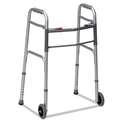 "Two-button release folding walker with wheels, silver/gray, aluminum, 32-38""h, sold as 1 each"